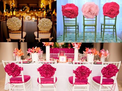Украшение стульев цветами