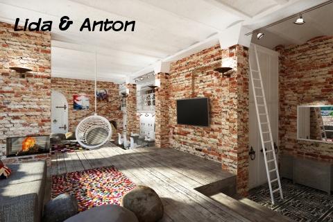 Кирпичные стены в стиле лофт