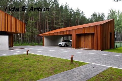 Крутой гараж из дерева