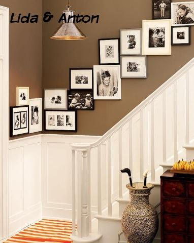 Стены лестничных подъёмов и каминные грубы часто украшают фотографиями. Таким образом, на первый взгляд бесполезное пространство можно применять в декоративных целях.