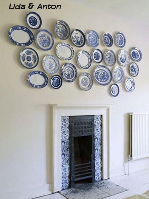 Декорирование стен обычными тарелками