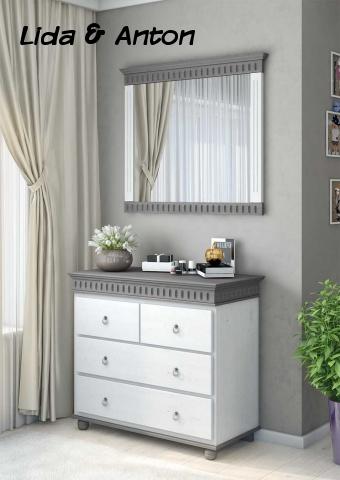 Комод Хельсинки и зеркало белый воск и серый