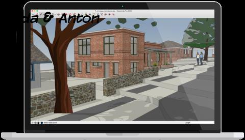 SketchUp здания и улицы